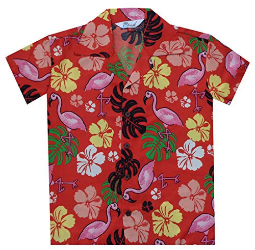 Camisas hawaianas para niños, flamenco, playa, aloha, fiesta, campamento, de manga corta, casual