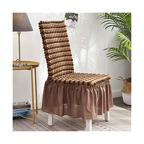 LLZY Jacquard Bubble Chair Cover mit Rock Elastic Slippover Abnehmbare Esssitzstuhlabdeckungen Qualitätshotel Bankett Sitzbezug (Farbe : Coffee, Größe : Universal Size)