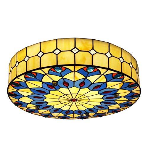 LCTCXD LED Retro Tiffany-Art-Deckenleuchte, rund Hand-Made Bunter Flush Mount Deckenleuchte Lampenschirm mit Perlmutt-Dekor-d: 40cmxt: 10cm (15.7x4in) warmes Licht (Größe : 40cm)