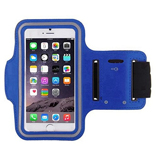 Navy Blue Armband Exercise Workout Case with Keyholder for Jogging fits Jethro SC628 3G Senior Cell FLIP Phone. for Arms up to 12 inches Big, Works Best with no Cover on Your Phone.