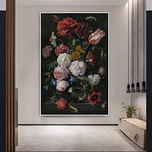 wZUN Pintura al óleo clásica de Rosas sobre Lienzo Arte decoración del día de San Valentín Carteles e Impresiones murales nórdicos para Sala de Estar 60x100 Sin Marco