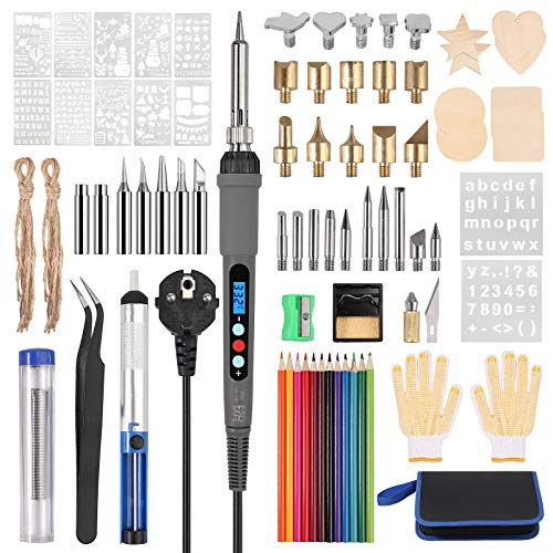 Justech 79PCs Kit de Pirograbador de Madera con Temperatura Regulable 180-480℃ con...