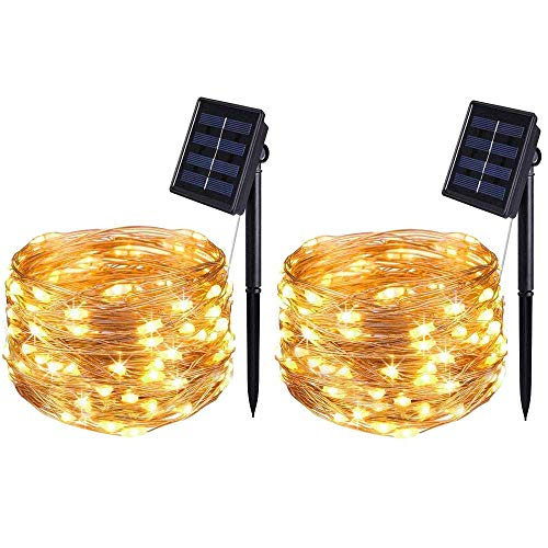 BOLWEO Solar Powered String Lights,Solar Fairy Lights,16.4Ft 50LEDS Waterproof Wire Lighting for Indoor Outdoor Christmas Tree Halloween Home Garden Decoration(Warm White))