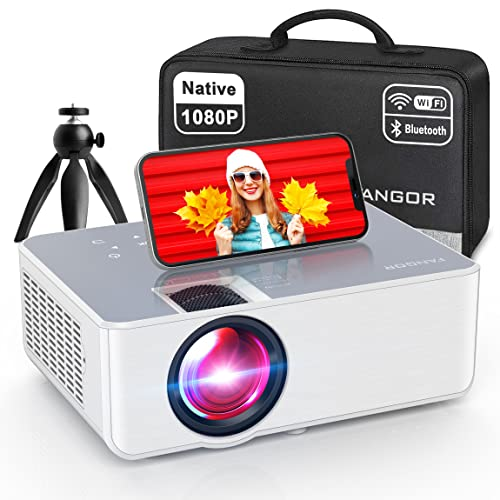 1080P HD Projector, WiFi Projector Bluetooth Projector, FANGOR 230' Portable Movie Projector with Tripod, Home Theater Video Projector Compatible with HDMI, VGA, USB, Laptop, iOS & Android Smartphone