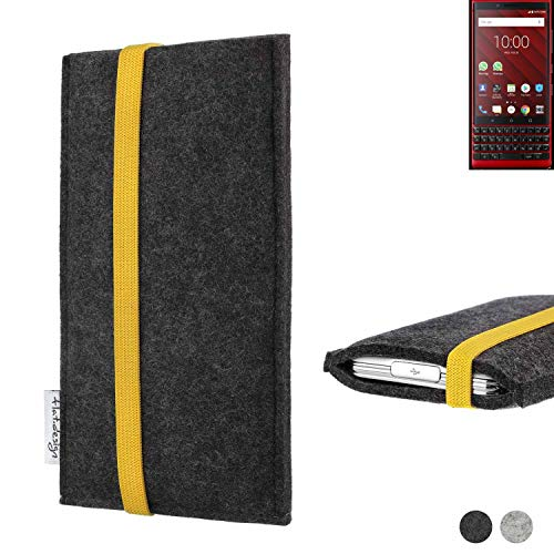 flat.design Handy Hülle Coimbra für BlackBerry KEY2 Red Edition passexakt Handytasche Filz Tasche fair schwarz gelb