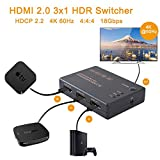 4K @ 60Hz HDMI HD Video Switcher Signal - Prise en Charge HDR HDCP2.2-3 en 1 Out...