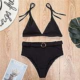 maozuzyy Bikinis Bañador Mujer Bikini De Cintura Alta para Mujer Traje De Baño Femenino Conjunto De Bikini De Dos Piezas De 4 Colores con Cinturón-Negro_L