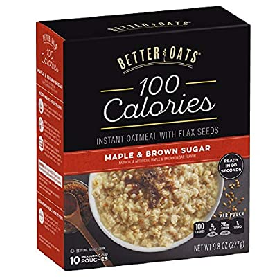 Better Oats 100 Calories Maple & Brown Sugar Instant Oatmeal with Flax Seeds, 9.8 Ounce