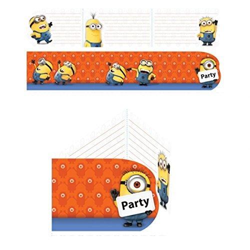 12-teiliges Einladungs-Set MINIONS para Fiesta y Cumpleaños AMSCAN Niños Cumpleaños de niños Fiesta motos Fete Invita Invitaciones Tarjetas invitación Despreciable Me