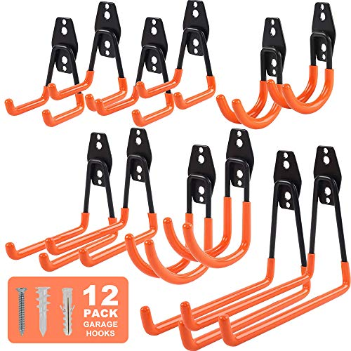 LIIBOT 12-Pack Garage Hooks Heavy Duty Steel Anti-Slip Tool Hangers for Garage Wall Mount Utility Garage Double Hooks and Hangers with Anti-Slip Coating for Bulky Bike Garden Tools Ladders Orange