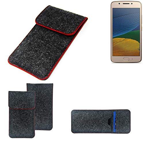 K-S-Trade Handy Schutz Hülle Für Lenovo Moto G5 Single-SIM Schutzhülle Handyhülle Filztasche Pouch Tasche Hülle Sleeve Filzhülle Dunkelgrau Roter Rand