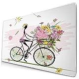 Großwild-Mauspad,Mädchen, das ein Fahrrad mit Aquarell-Gänseblümchen-Blumenkorb reitet,Rutschfester Schreibtisch-Pad-Schutz,Schreibtisch-Schreibmatte für Desktop,Computer-Laptop,15.8'x29.5'
