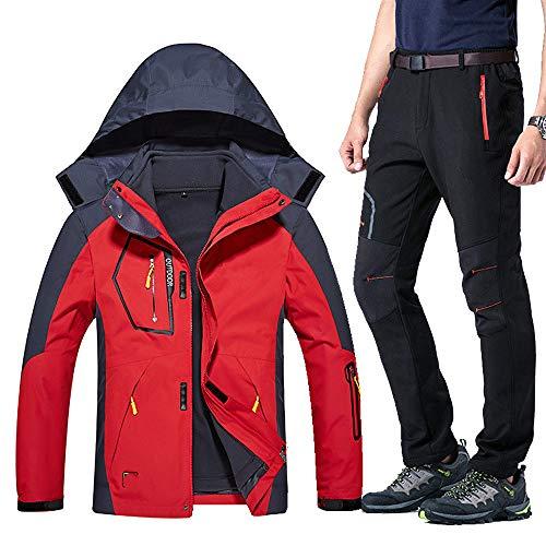 Winter Ski Anzug für Männer Warm Windproof Wasserdicht Skifahren Snowboard Jackenset Männlich Outdoor Snow SkijackeSoftshell Pants Set, Rot Schwarz 2, Asiatisch 2XLEUR XL