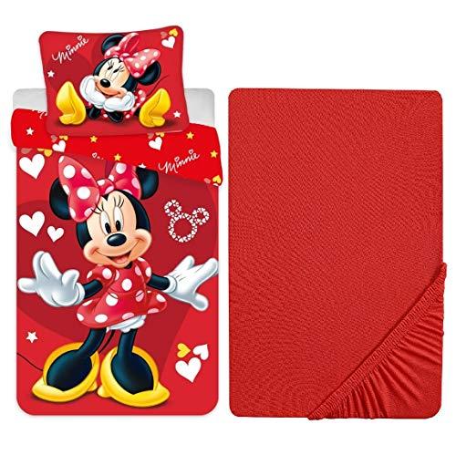 L.T.Preferita Disney Minnie Mouse Red - Juego de ropa de cama para bebé, cuna de bebé, funda nórdica + funda de almohada + sábana bajera ajustable