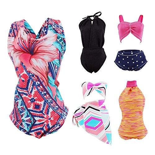 E-TING 5 Conjuntos Bikini Traje de Baño Vestir Ropa para muñeca de niña(Swim Style C)(muñeca no incluida)