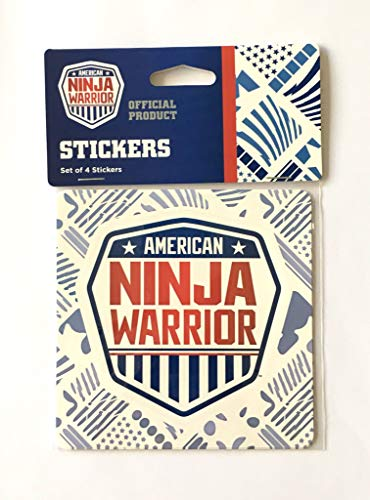 American Ninja Warrior Stickers (Set of 4) - 4 inches (H) x .01 Millimeter (W) x 4 inches (L)