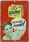 Eliuji 20 x 30 cm moda letreros de lata decoración de pared, Yankees Yogi Berra YooHoo bebida de chocolate durable aspecto vintage signo de metal nostalgia placa para logias de caza