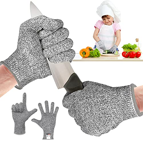 COTTONIX Guantes para niños a prueba de cortes, guantes para trinchar para niños con protección de nivel 5 de alto rendimiento, aptos para cocinar, tallar y jardinería(XXS)