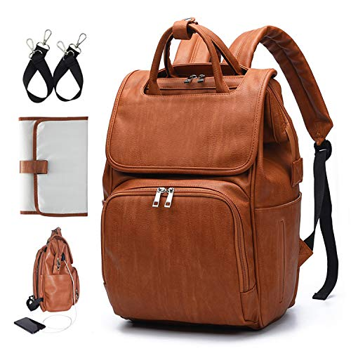 IKARE Leather Diaper Bag Backpack, Large Capacity Maternity Bag, Multi-Functional Travel Backpack Anti-Water Maternity Nappy Maternity Backpack Changing Bags with Insulated Pockets Stroller Straps.