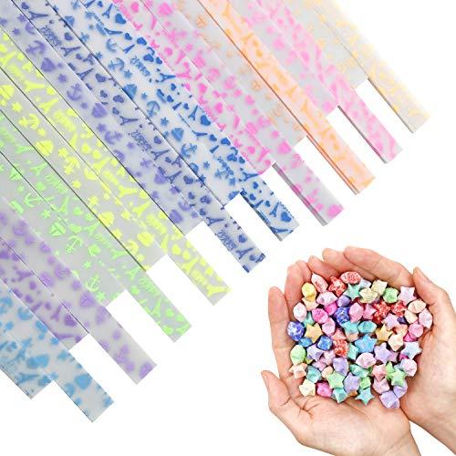 """9.3""""x 0.4"""" Papeles de Luminoso Origami Stars 420 Hojas 10 Colores 2 Tipo de patrón (Brilla en la oscuridad)"""