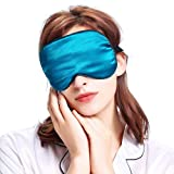 100% Silk Sleep Mask & Blindfold, Soft Eye Mask with Adjustable Head Strap, Deep Rest Eye Masks for Sleeping Night Eyeshade, Comfortable Eye Cover for Travel, Shift Work & Meditation (Turquoise)