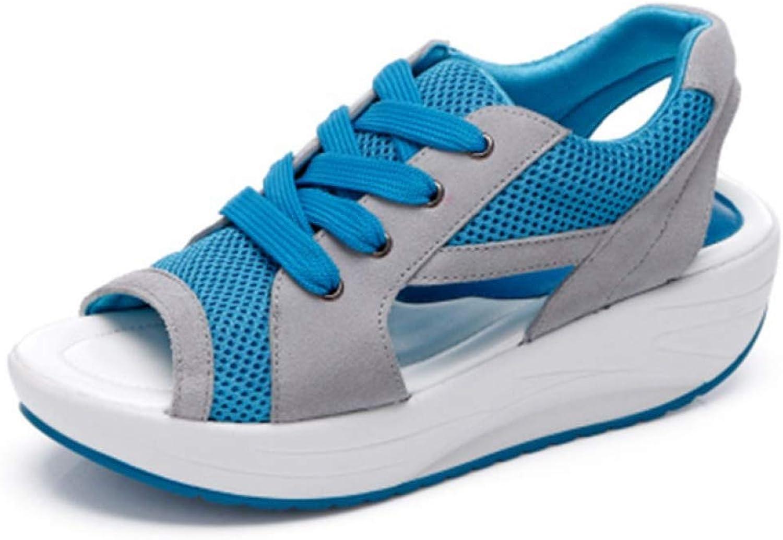 JOYBI Women Wedges Platform Outdoor Sandals Non Slip Lace Up Sport Summer Casual Peep Toe Swing shoes