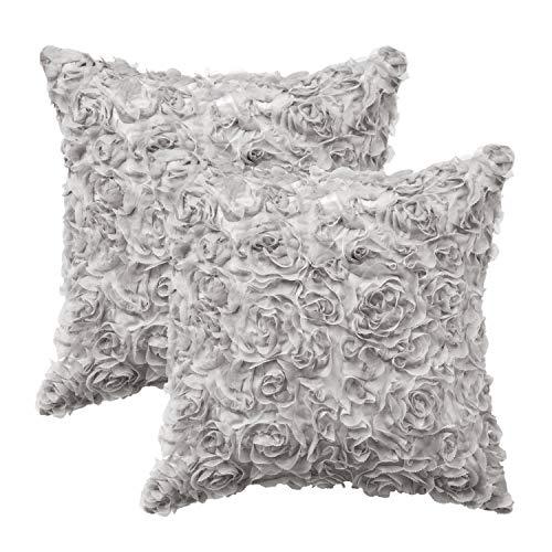 CaliTime Kissenbezüge Kissenhülle Throw Pillow Cases Packung mit 2 soliden 3D-Stereo-Chiffon-Rosenblumen-Dekorationskissenbezügen Schalen für Couch-Sofa Schlafzimmer 50cm x 50cm grau