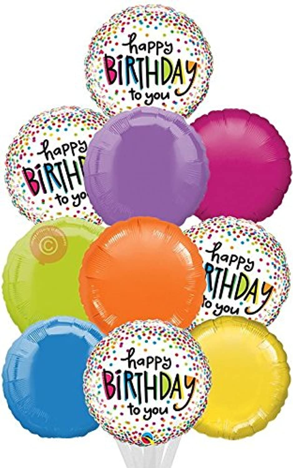 Happy Birthday Sprinkled Dots  Inflated Birthday Helium Balloon Delivered in a Box  Biggest Bouquet  10 Balloons  Bloonaway