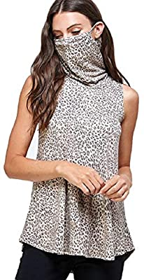 WATERMELONMODA Women's Sleeveless Top Tunic - Casual Turtleneck with Mask Summer Leopard Animal Print T Shirt Tee Tshirt WT2333-3 Animal 1X