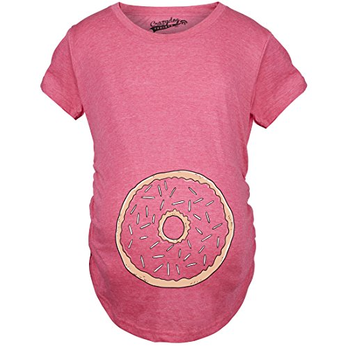 Crazy Dog Tshirts - Womens Pregnancy Donut Baby Bump Cute Maternity Announcement Funny T Shirt (Pink) - L - Femme