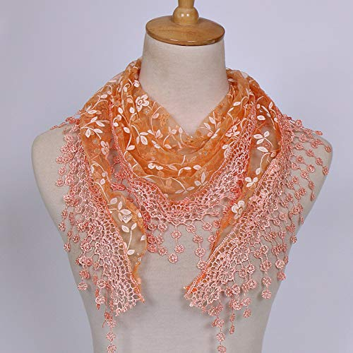 jieGorge Women Lace Sheer Floral Scarf Shawl Wrap Tassel Scarf, Scarf, Clothing Shoes & Accessories (Orange)