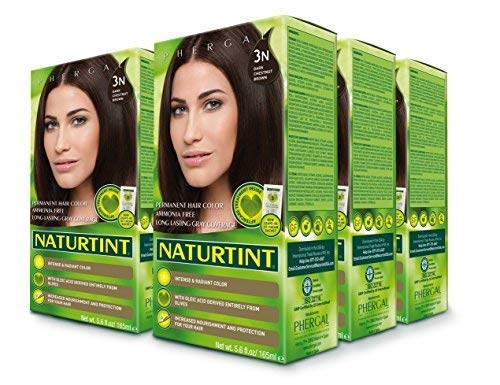 Naturtint Permanent Hair Color 3N Dark Chestnut Brown (Pack of 6), Ammonia Free, Vegan, Cruelty Free, up to 100% Gray Coverage, Long Lasting Results