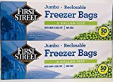 First Street Jumbo 2-Gallon Reclosable Freezer Bags with Snap and Seal Zip Lock Top, 13'x15-5/8', 50 Ct (Twin Pack)
