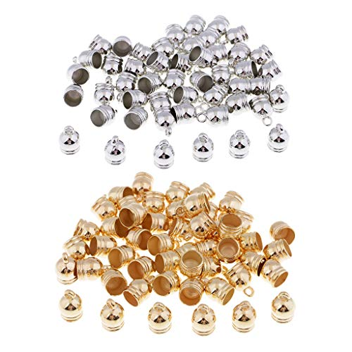 Harilla 100pcs End Caps Bead Stoppers for 8mm Leather Cord Bracelet Necklace Jewelry