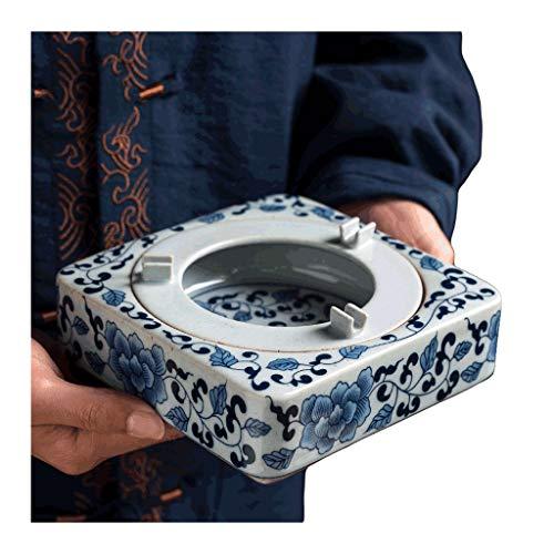 Ceniceros originales Bandeja de ceniza de cerámica de cerámica de cenicero azul y blanco para cigarrillos para cigarrillos de diseño de ceniza de diseño separado Excelente decoración de escritorio-bla