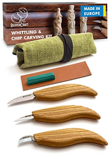 BeaverCraft S15 Whittling Wood Carving Kit - Wood Carving Tools Set - Chip Carving Knife Kit - Whittling Knife Set Whittling Tools Wood Carving Wood for Beginners (Chip Carving Knife Kit)