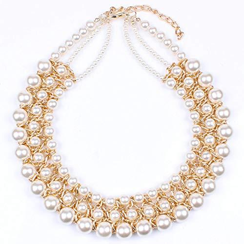 ALUCE Damen 3-Reihig Perlenkette Von Hand Gefertigt Sind Glänzend Guter Qualität Frauen Zu Weihnachten Geburtstag Muttertag,OneColor