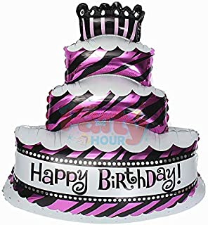 Party Hour Happy Birthday 16 inch Metallic Cake Shape Foil Balloon for Kids Boys/Girls Party Birthday (Pack of 1) Props Propz