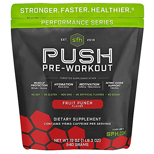 Push Pre-Workout Powder (Fruit Punch) by SFH | BCAAs for Muscle Repair | Electrolytes | Non-Dairy, No Artificial Flavors, Colors, Sugar, Soy, Gluten, or GMOs (Bag)