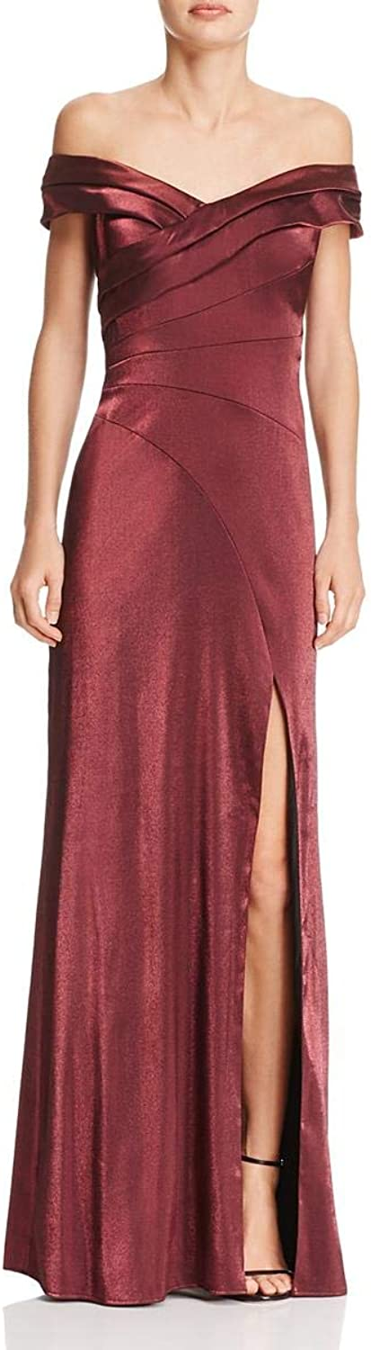 Aidan Mattox Womens Satin OffTheShoulder Evening Dress