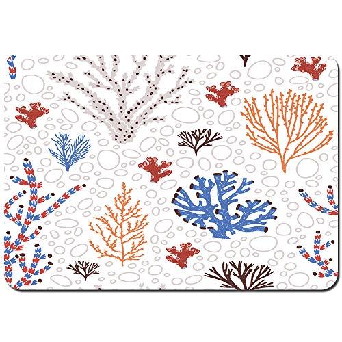 Blived rutschfeste Badematte,Nahtlose Muster blau rote Korallen Algen,Küchenmatte...