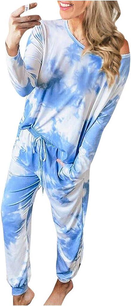 Pajama Set for Women,Womens Tie Dye Printed Loungewear Set Tops Joggers 2 Piece Pants PJ Set Sweatsuit Nightwear