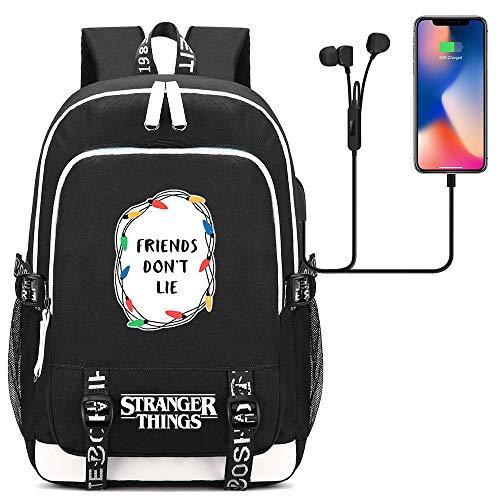 NYLY Stranger Things Rucksack Junge Sport Reiten Wanderrucksack Mode Mädchen Schultasche Teen Notebook Backpack Tablet PC Tasche Unisex M Schwarzer Stil 85