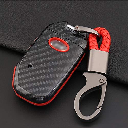 ontto Smart 4 Tasten Autoschlüssel Hülle Fall für Kia Rio Ceed Optima Sorento Sportage R ABS Kunststoff Schlüsselbox Keyless Go Schlüsselschutz Schlüssel Tasche Schlüsselanhänger-Kohlefaser rot A
