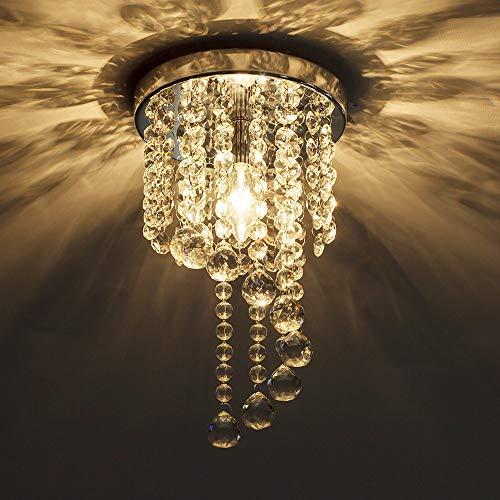 KAUTO Moderna lámpara de araña de Cristal al RAS con Gota de Lluvia, Estilo de Pantalla, iluminación Colgante de Techo Interior para Sala de Estar, Dormitorio, Pasillo