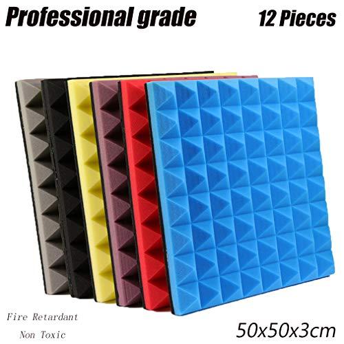 Wyujie Dämmmatten Schallschutzmatte Selbstklebend Wand Noppenschaumstoff Schallschutz 50X50CM Non Toxic,Grau,Feuerhemmend