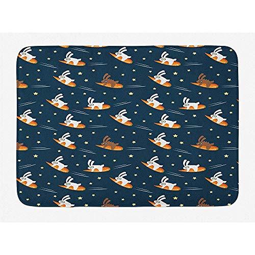 Balance-Life Tapis de Bain pour Enfants, Funny Lapins voyageant vers Space Stars sur Carrot Dream Fairytale Petrol Orange