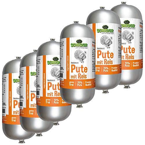 Schecker Saucisse pour chien avec dinde et riz – 6 x 200 g – Disponible en 3 variétés différentes – Hypoallergénique – Sans gluten – Sans substances attractives, parfumées et arômes