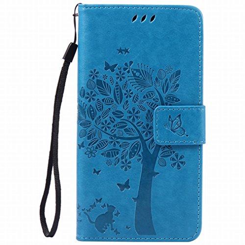 LEMORRY Hülle für Sony Xperia Z3+ Hülle Tasche Geprägter Ledertasche Beutel Schutz Schließung SchutzHülle Weich Silikon Cover Schale für Sony Z3+ (Z3 Plus, Z4, E6553), Glücklicher Baum Blau
