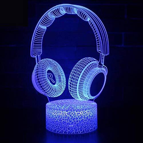 Geschenk Tischlampe 3D Nachtlicht Bunte LED Tischlampe Nachttischlampe Originalität Dekoration Kinder Geschenk Headset Musik